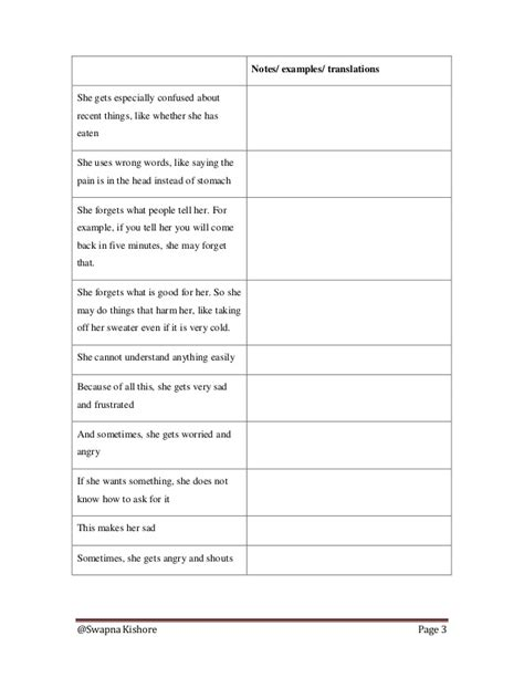 Trained Attendant Orientation Note For Dementia Care