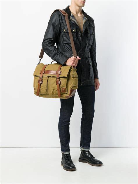 belstaff leather colonial messenger bag  brown  men lyst