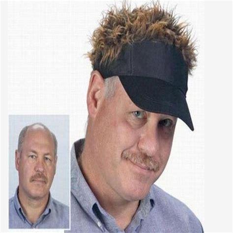 fashion novelty baseball cap fake flair hair sun black