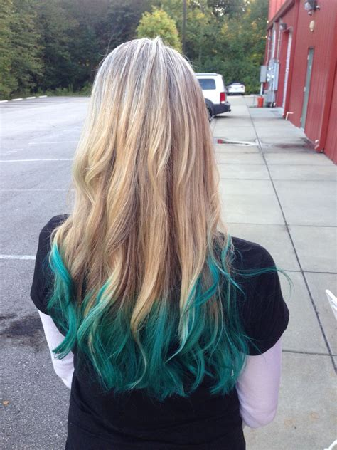 Blonde Hair With Teal Green Ombre Ends Hair In 2019