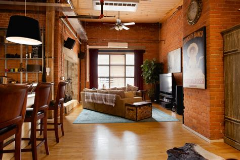 hard loft space industrial living room edmonton