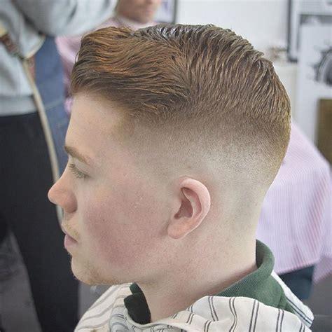 medium skin fade  pompadour side view  george coady  mid baldy classic haircut