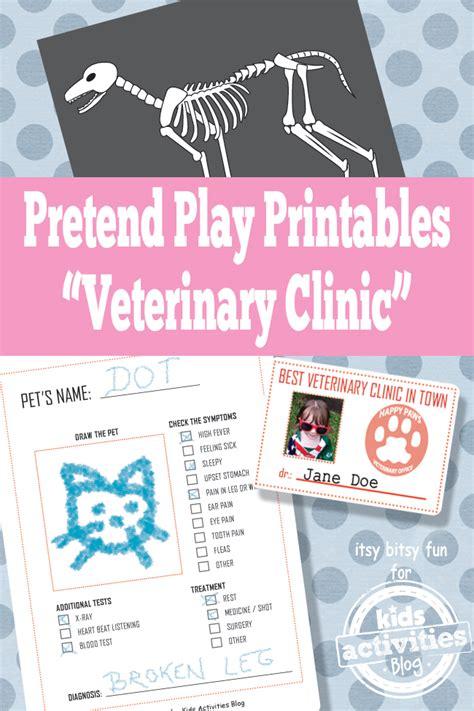 veterinary printables  pretend play