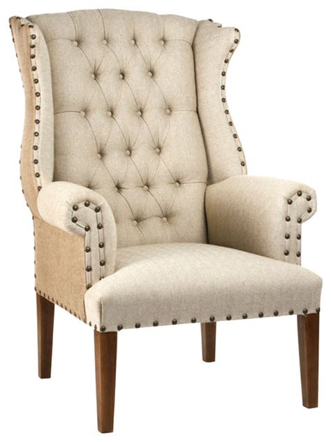 tufted wing chair traditional armchairs and accent chairs