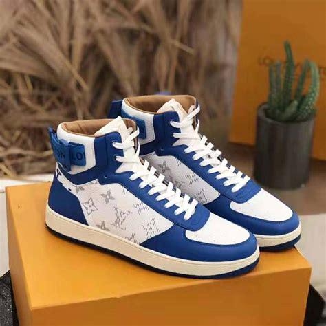 louis vuitton lv unisex rivoli sneaker boot  monogram grained calf leather blue lulux