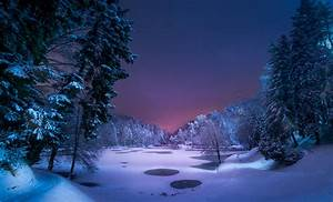 Winter lake at night / 3610 x 2191 / Nature / Photography ...