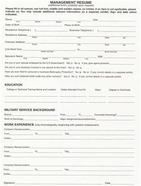 Forms Of Resumes resume fill out form resume sle