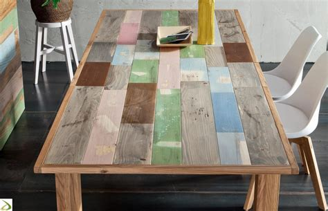 soggiorni colorati tavolo in legno multicolor yellowstone arredo design