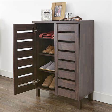 Shoe Cabinet by Store Slatted Shoe Storage Cabinet Mahogany Effect
