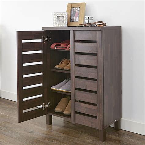 Store  Slatted Shoe Storage Cabinet  Mahogany Effect