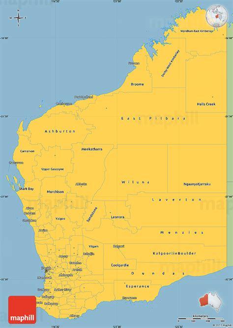 savanna style simple map  western australia