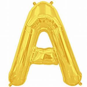 Letter a gold foil balloon shape b 34quot the party bazaar for Gold letter balloons