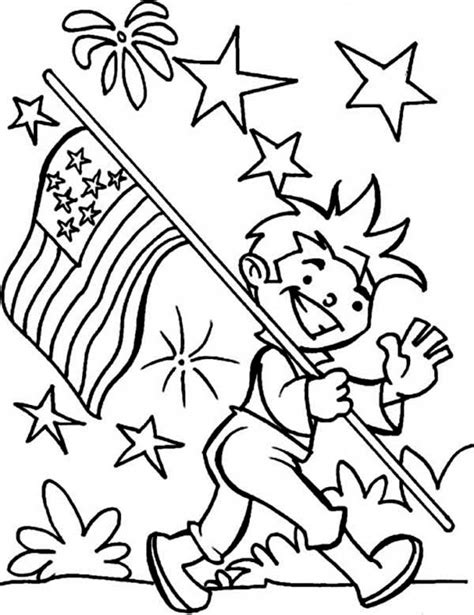 carrying usa flag  independence day event coloring page