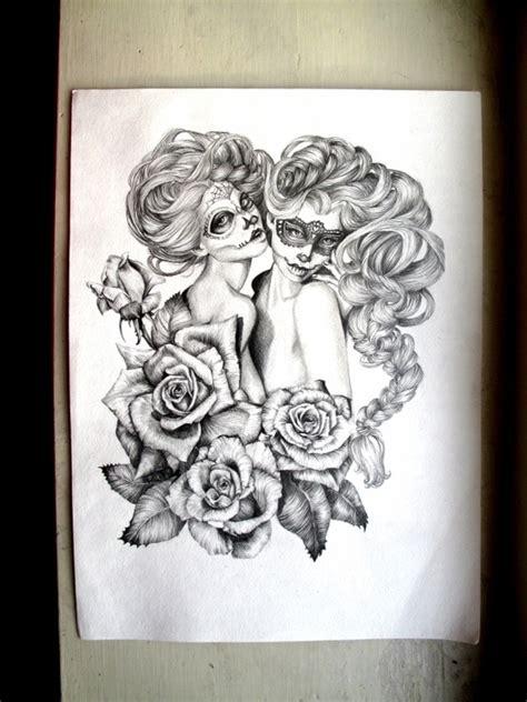de los muertos girls   love  art tattoos