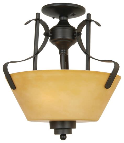 3 lights semi flush mount in venetian bronze