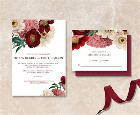 printable maroon floral wedding invitation suite diy
