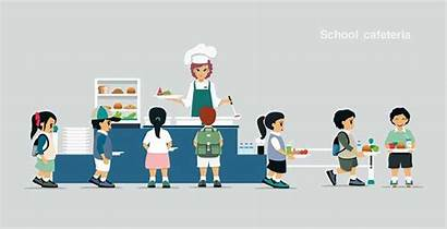 Cafeteria Vector Line Illustration Students Lunchroom Canteens
