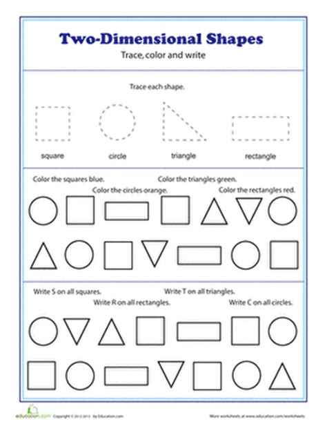 two dimensional shapes worksheet education