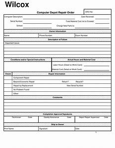 Best photos of repair work order form template computer for It service definition template