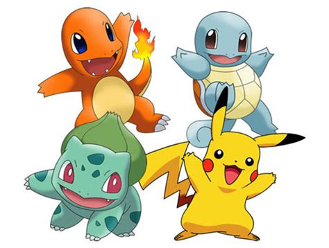 Pokemon Bulbasaur Charmander Squirtle and Pikachu