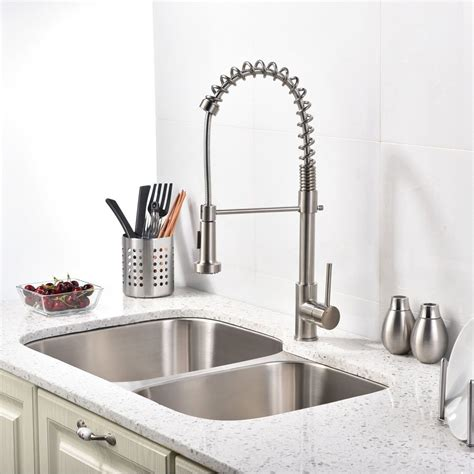 brushed nickel kitchen sink brushed nickel kitchen sink faucet with pull down sprayer
