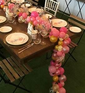 Organic balloon table runner 1 5m with flower garland
