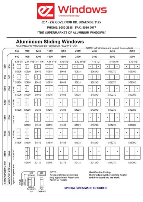 standard sizes ez windows aluminium windows  doors