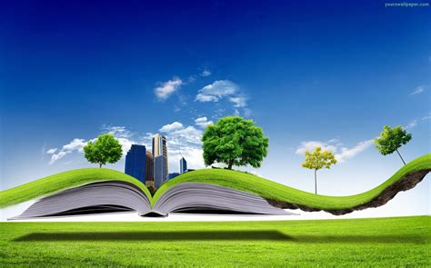 3d green nature book wallpaper one hd wallpaper pictures