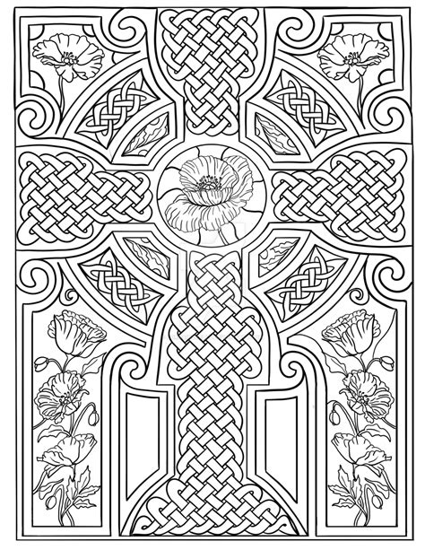 Celtic Cross With Poppies Coloring Page By Lorrainekelly