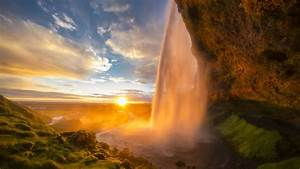 Waterfall, From, Rock, During, Sunrise, Under, Cloudy, Blue, Sky