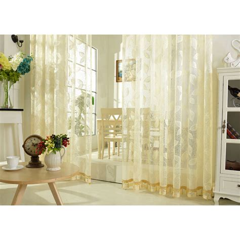 beautiful leaf pattern embroidery lace beige sheer curtains