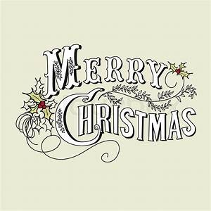 Vintage Christmas Card. Merry Christmas lettering | Stock ...