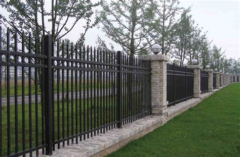 metal fence designs pictures awesome metal outdoor fence decorations combined with stone pillars and completed with outdoor