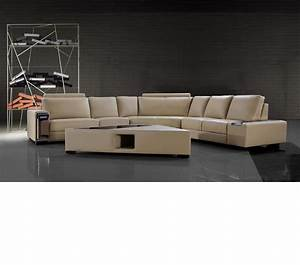 Dreamfurniturecom tera beige leather sectional sofa for Coffee table size for sectional sofa