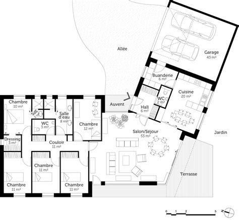 plan maison plain pied 1 chambre maison architecte plain pied plein pied avec menuiseries