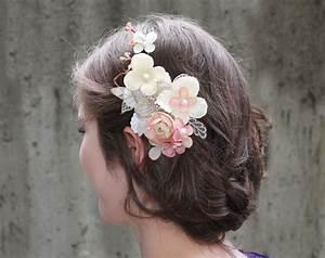 Ivory Pink Bridal Flower Hair Clip Wedding Hair