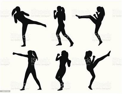Boxing Kickboxing Silhouette Clipart Vector Cardio Clip