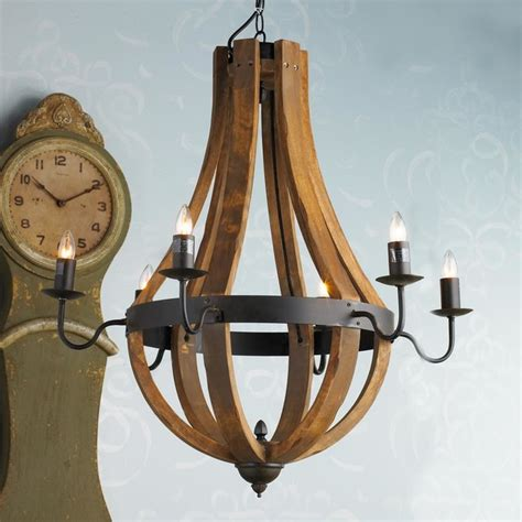 wooden wine barrel stave chandelier stained wood