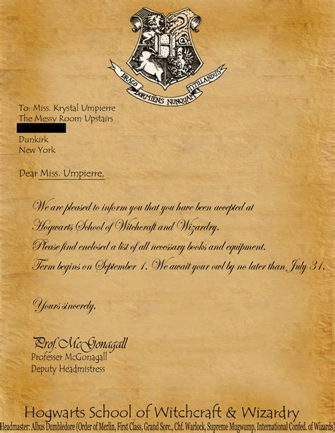 Hogwarts Letter Template Hogwarts Acceptance Letter Template Cyberuse