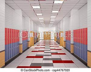 Lockers in the high school hallway. 3d illustration clip ...