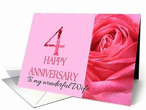 4th Anniversary to my Wife - Pink rose close up card ...