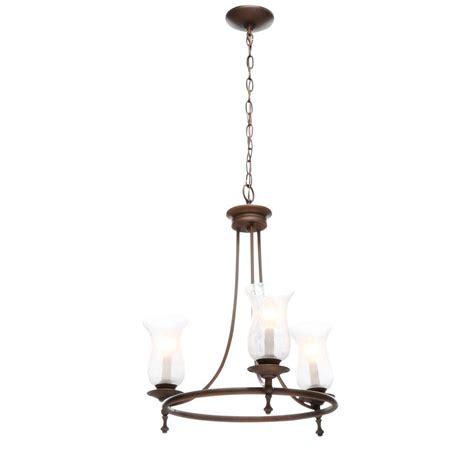 hton bay grace 3 light rubbed bronze chandelier 14690