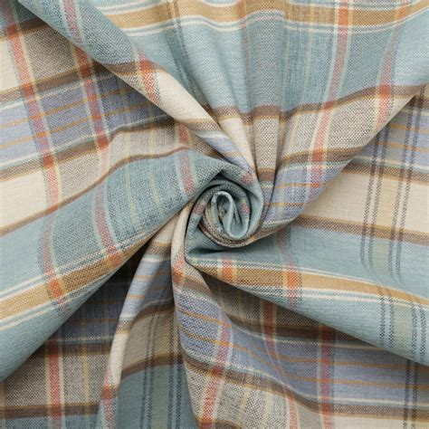 plaid drapery fabric designer discount linen look tartan check plaid curtain