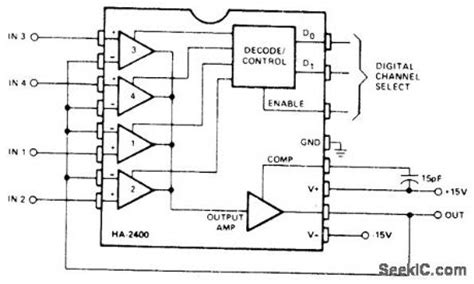 Four Channel Analog Multiplexer Amplifier Circuit