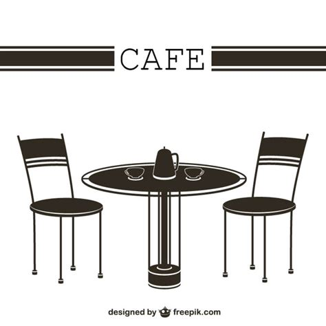 cafe table and chairs vector free