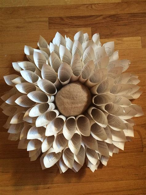 hometalk diy upcycle book page flower wreath wall hanging