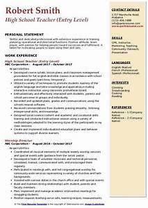 Resume Objective For Teaching High School Teacher Resume Samples Qwikresume
