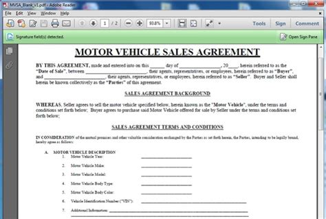 give   motor vehicle sales contract template
