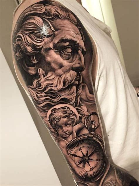 Black And Gray Zeus Sleeve Tattoo  Tattoos Pinterest