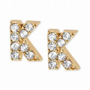 betsey johnson antique goldtone crystal k letter stud With letter k earrings